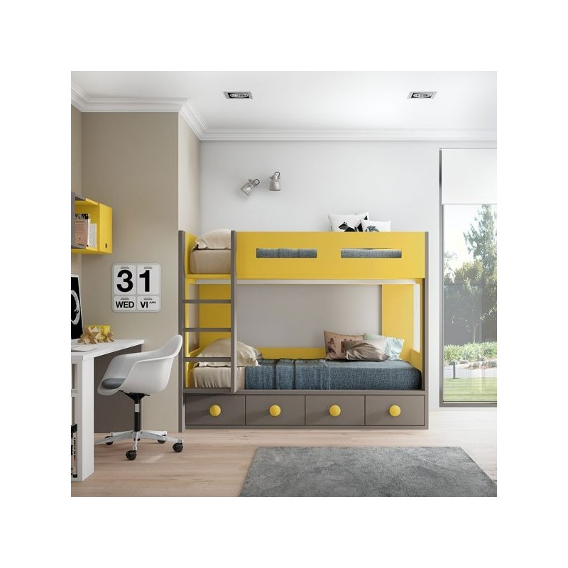 Cama Litera Bicolor Finisher con módulo 4 contenedores GC