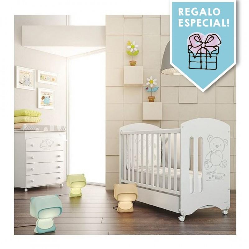 Habitación Sweet Bear: Cuna con cajón, Cómoda con Bañera y Pack Textil (Edredón, Jgo sábanas y Protector)
