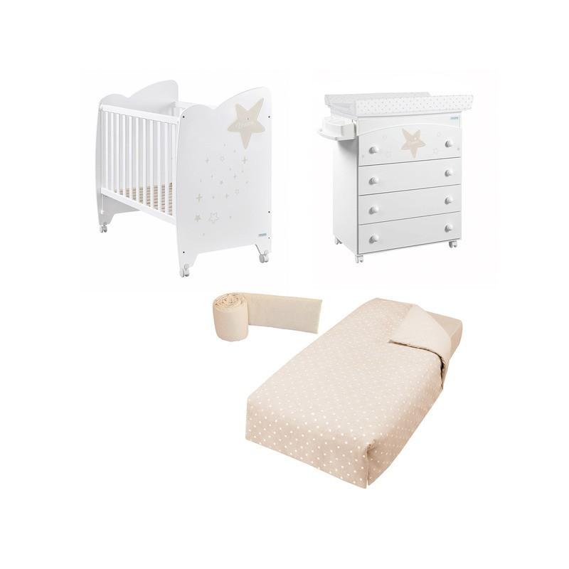 Habitación Estela: Cuna, Bañera / Cambiador y Pack Textil Micuna REGALO COLCHON