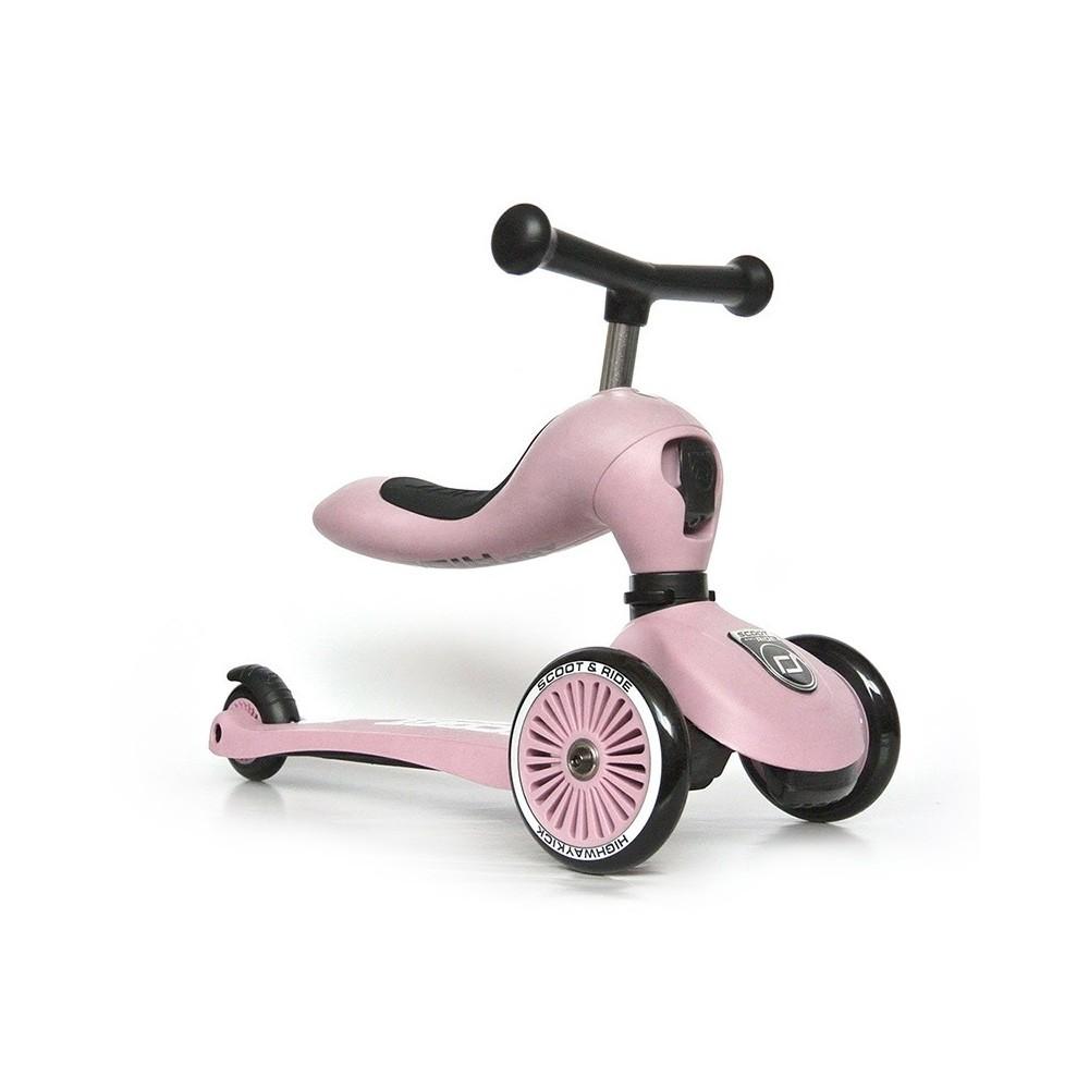 Patinete 2 en 1 Highwaykick One Rosa Claro Scoot & Ride
