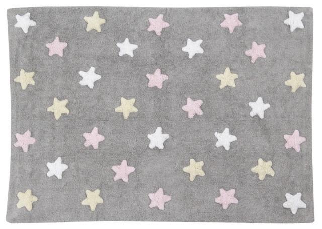 Alfombra Estrellas Tricolor Lorena Canals Gris - Rosa