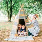 "Se acerca el finde y qué mejor forma de pasarlo que ""haciendo el indio"" en familia. Feliz jueves !!! ⛺️🧝🏻♂️🏹 O fim de semana está chegando e que melhor maneira de gastá-lo que ""fazer o índio"" como uma familia. Feliz quinta-feira!!!! ⛺️🧝🏻♂️🏹 #lananitafamily #tipi #montessori #family #plum #decobebe #instastyle #wood #naturaleza #juguetesdemadera"
